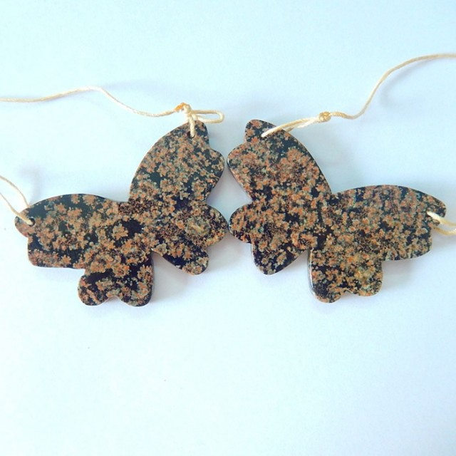Butterfly Earrings,Beautiful Gift For Her,Natural Snow Flake Obsidian Jaspe