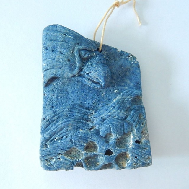 142.5ct Natural Blue Coral Handcarved Eagle Head Pendant(17071811)