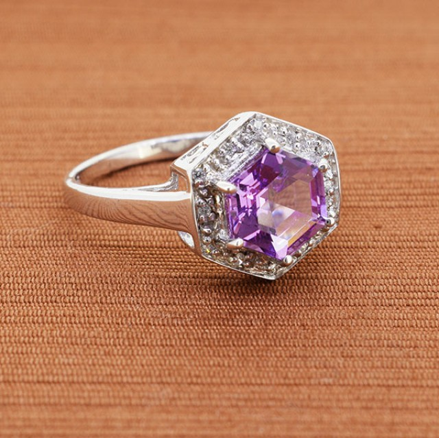 Chic Amethyst HEX Step Cut Solitaire, 925 Sterling Silver Ring, Size 10