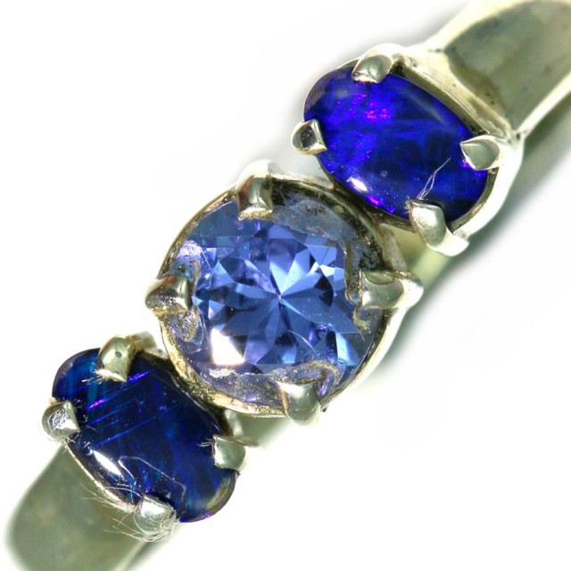 8 SIZE  TANZANITE AND OPAL RING  -FACTYORY DIRECT [SJ4563]