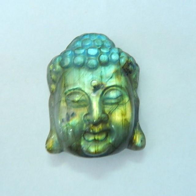 55ct Natural Flashy Labradorite Carving Buddha Head Cabochon,Godness Jewelr