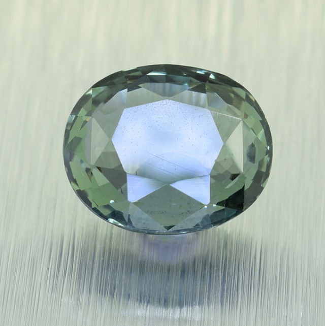 BIG Unheated Certified Green Sapphire 3.19 Ct. looks Amazing ! (00725)