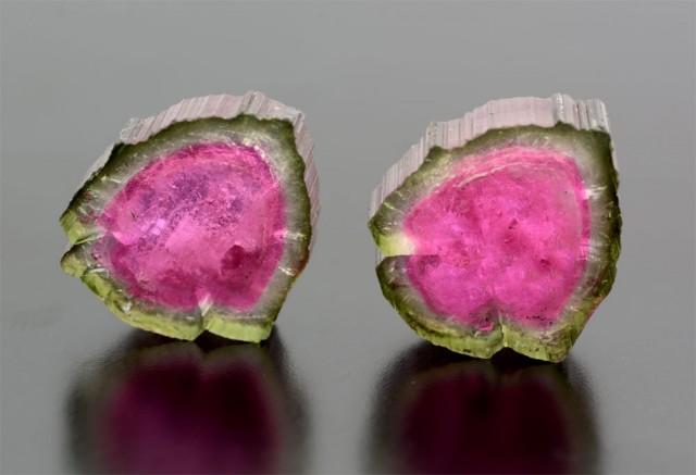 30 Cts World Rare Pair Watermelon Tourmaline Slice @ Afghanistan
