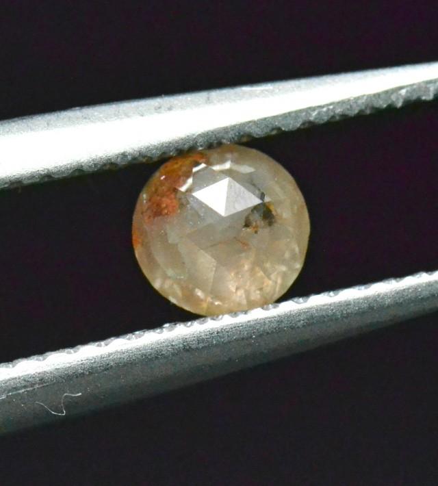 0.52ct 4.8mm round rose cut diamond white cayenne orange 4.8mm by 2.6mm