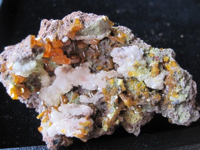 Very Rare Wulfenite, Memitite and Calcite on Limonite from Mexico