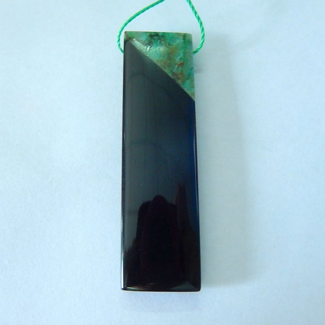 35.5ct Natural Chrysocolla ,Obsidian Intarsia Necklace Pendant Bead, Fashio