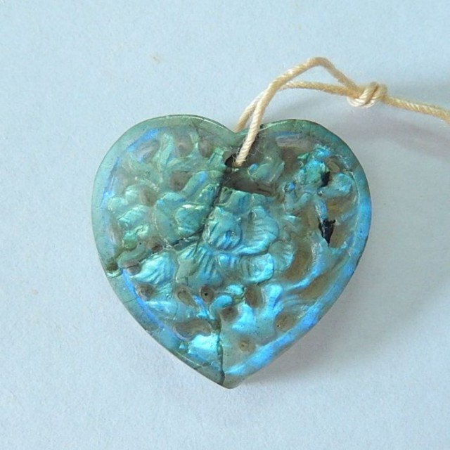 22.5ct Natural Flashy Labradorite Carved Flower Heart Necklace Pendant ,Fas