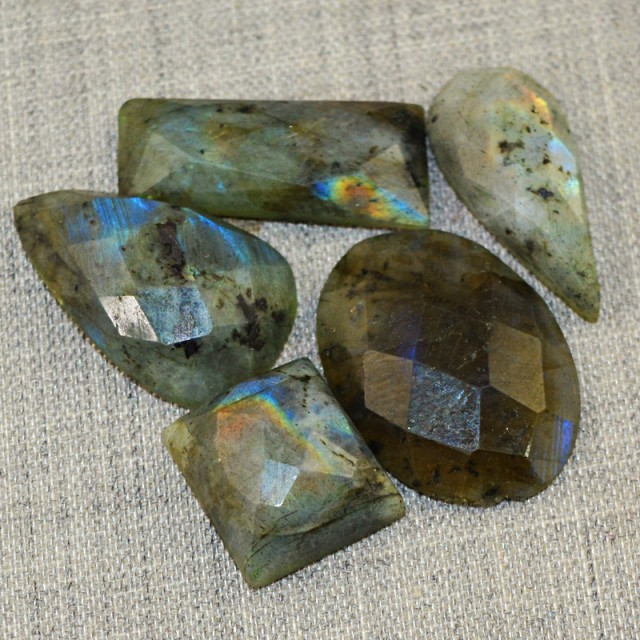 Genuine 69.00 Cts Faceted Blue Flash Labradorite Cab Lot