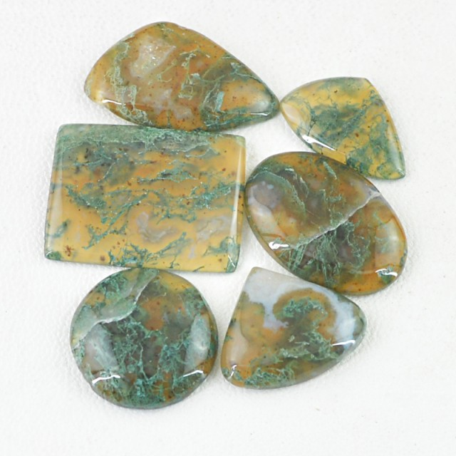 Genuine 76.00 Cts Green Moss Agate Cab Lot