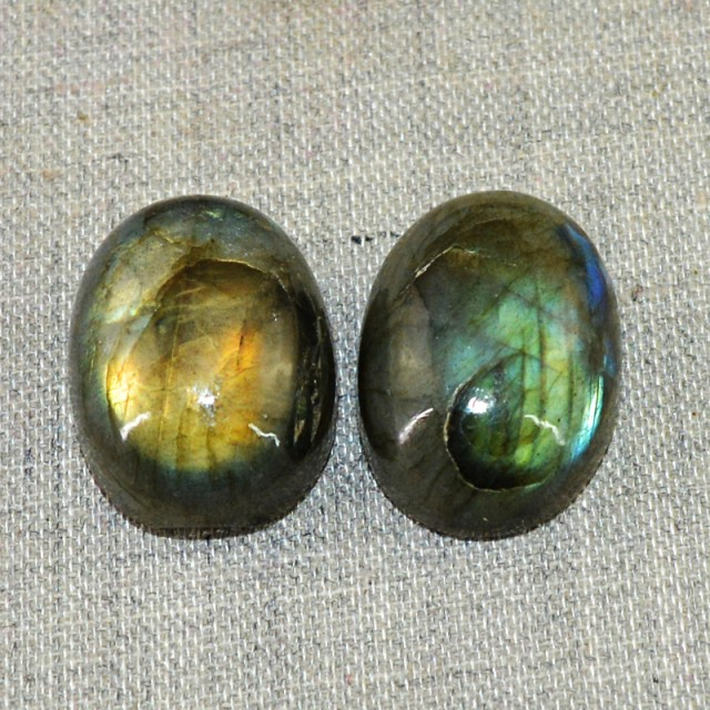 Genuine 42.00 Cts Oval Shape Golden Flash Labradorite Cab Pair