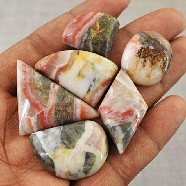 Genuine 61.00 Cts Untreated Crazy Lace Agate Cab lot
