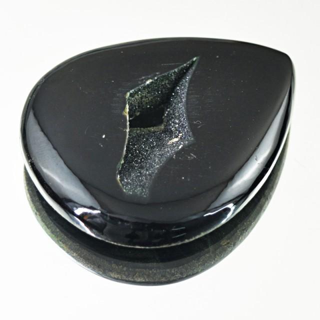 Genuine 114.50 Cts Black Druzy Pear Shape Cab