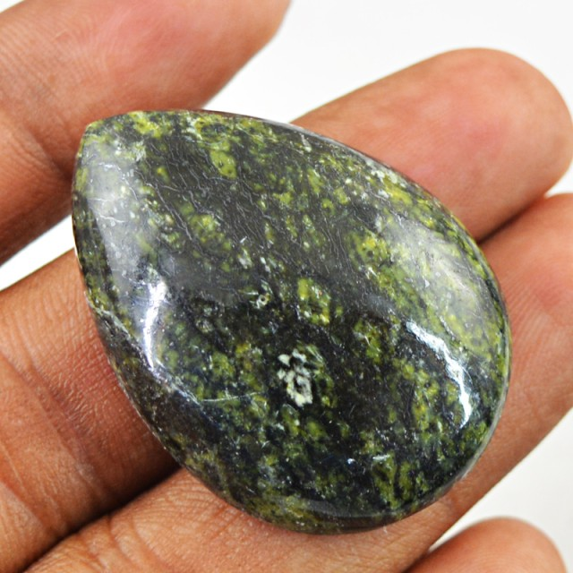 Genuine 55.85 Cts Forest Green Jasper Pear Shape Cab