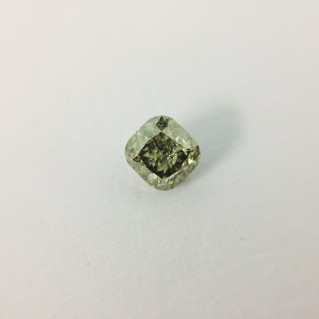 Fancy Intense Grey green 0.35 ct Diamond Cushion cut.