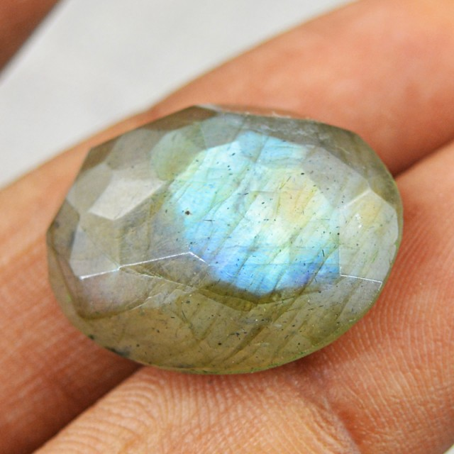 Genuine 21.50 Cts Faceted Blue Flash Labradorite Oval Shape Cab