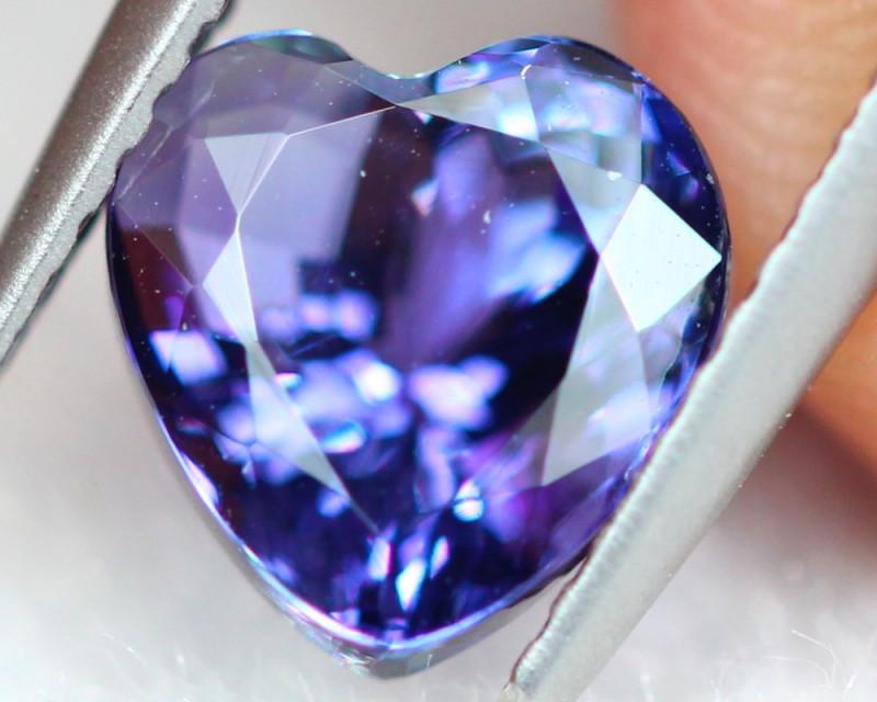2.52ct Natural Violet Blue Tanzanite Heart Cut Lot S188
