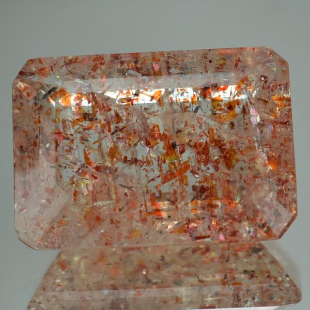10.83 Cts Natural Brick Red Dot Sun Stone Octagon Cut Congo Gem