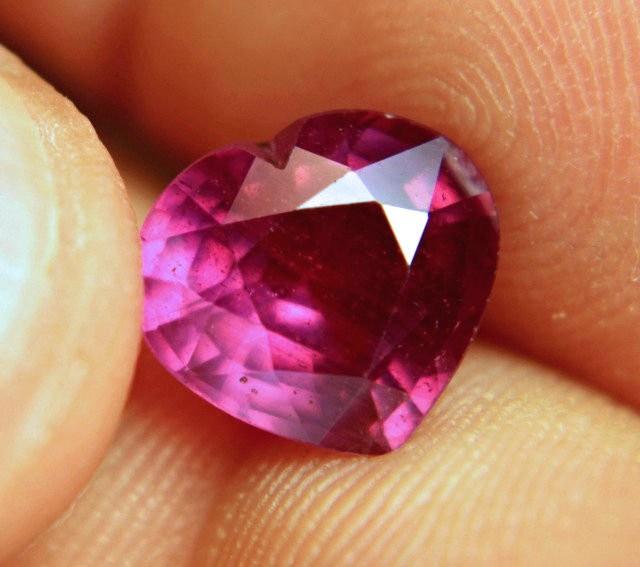4.96 Carat Fiery Reddish Purple Ruby Heart - Gorgeous