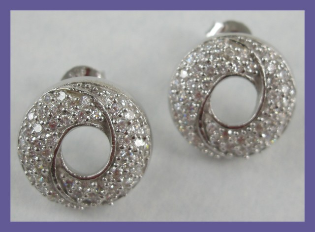 ART DECO DESIGN - STERLING SILVER EARRINGS - PAVE SET WITH CZ