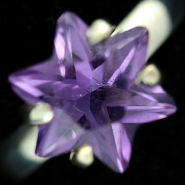 8 SIZE AMETHYST STAR RING -FACTORY DIRECT  [SJ4711]8