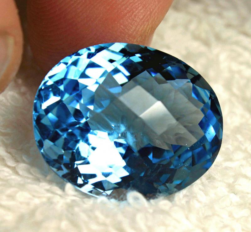 35.45 Carat Vibrant Blue VVS1 Topaz - Superb
