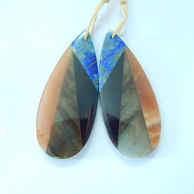 Fashion Handmade Intarsia Earrings,Natural Sunstone,Lapis Lazuli,Obsidian A