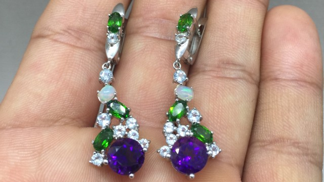 Amazing Nat 25.5tcw. Amethyst Diopside Opal Topaz Earrings Untreated