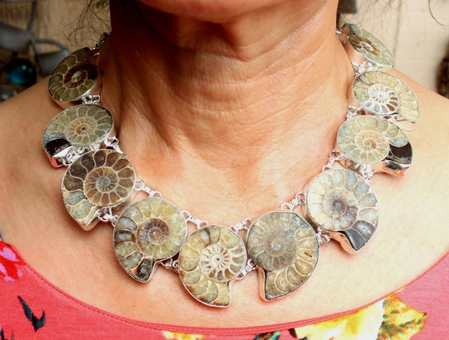 757.0 Tcw. Ammonite Sterling Silver Necklace - Beautiful