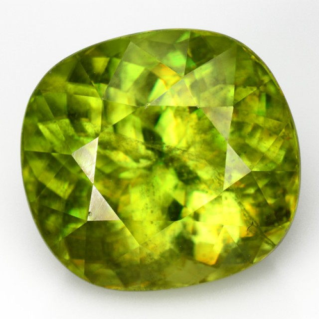 13.96 Cts Natural Sphene Olive Green Cushion Russia