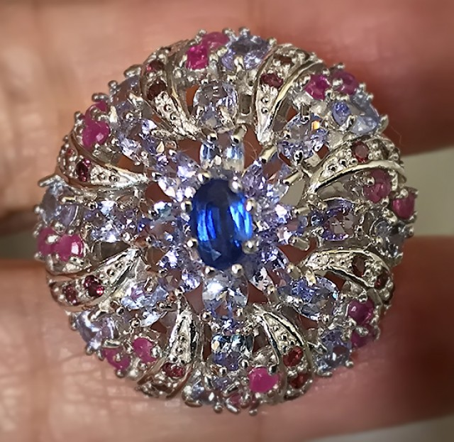 Majestic Tanzanite Ruby .925 Sterling Silver Ring No Reserve