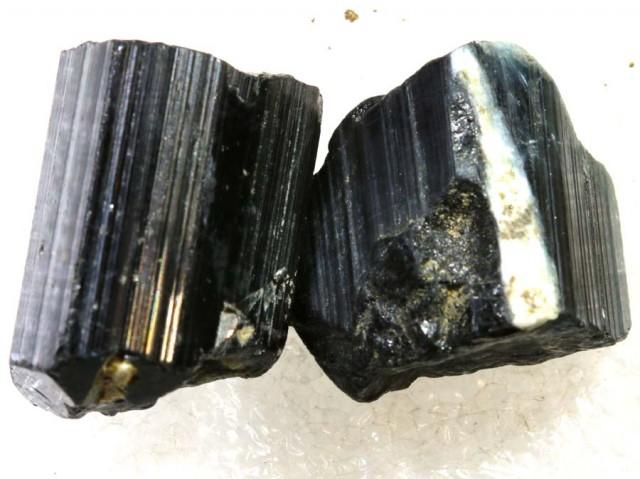 67CTS TOURMALINE BLACK NATURAL ROUGH 2PCS RG-2417