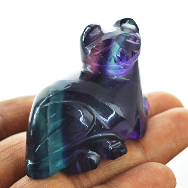 Genuine 224.50 cts Handcarved Fluorite Cat