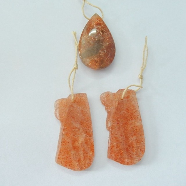 Sell Natural Nugget Sunstone Earrings and Necklace Pendant Bead(17092302)