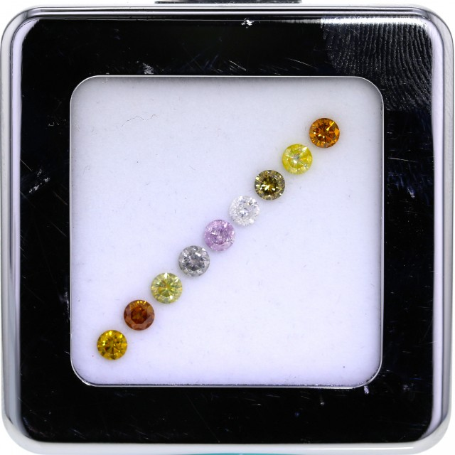 Lot of Nine Natural Fancy color Diamonds 0.20 ct. approx size Round Brillia