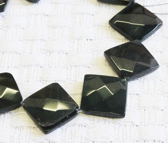 Faceted Black agate strand beads GOGO 1776