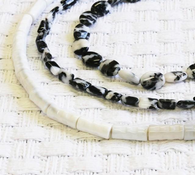 Three strands Zebra jasper strand beads GOGO 1777