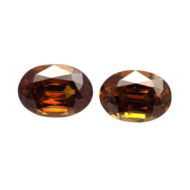2.40cts Natural Australian Brownish/Red Zircon Matching Ovals