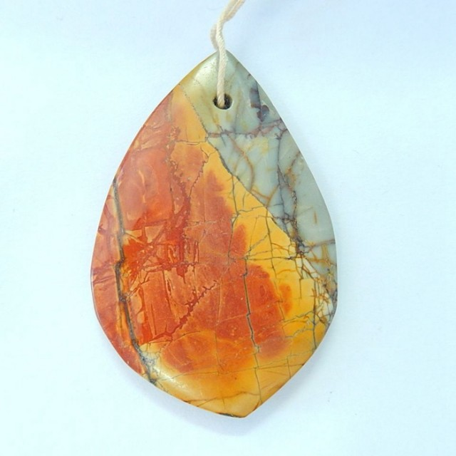 70.5ct Natural Muti Color Picasso Jasper Freeform Necklace Pendant (1709301