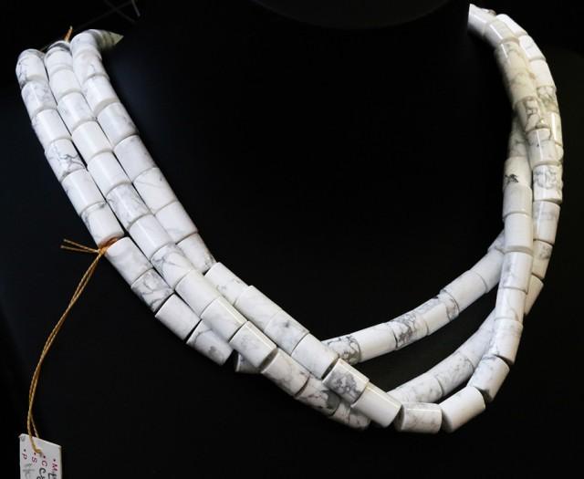 Three Natural polished Howlite strand beads GOGO 1780