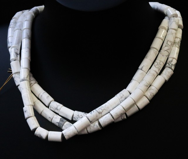 Three Natural polished Howlite strand beads GOGO 1781