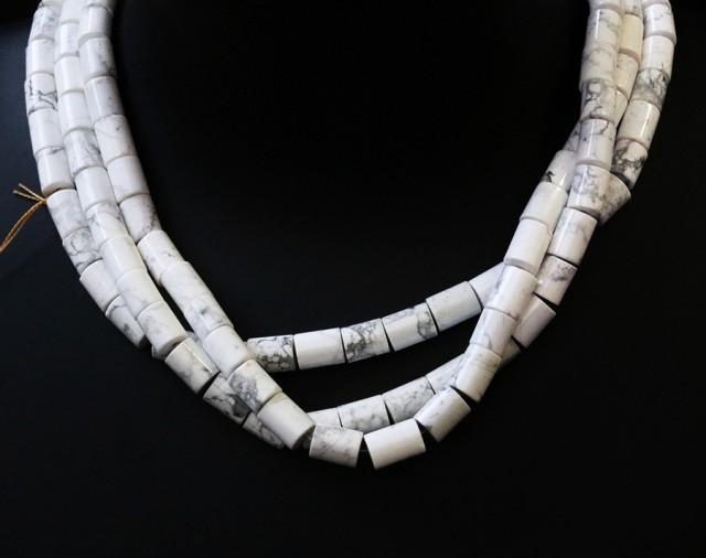 Three Natural polished Howlite strand beads GOGO 1782