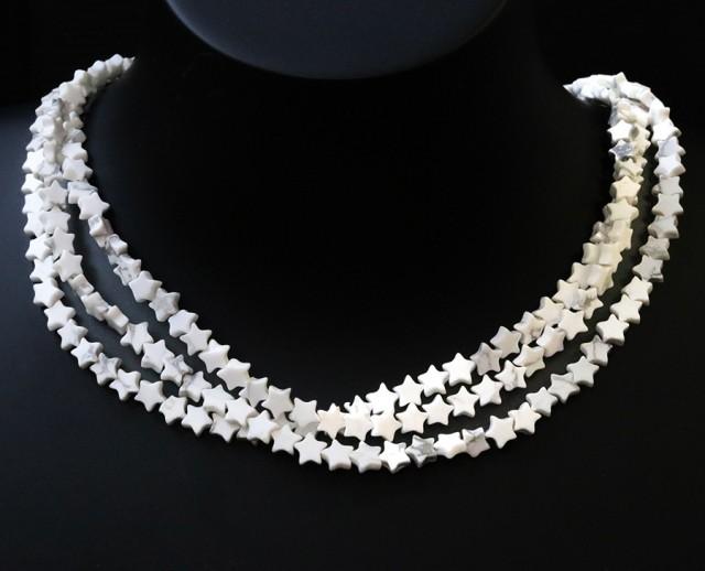 Three Natural polished Howlite strand beads GOGO 1784