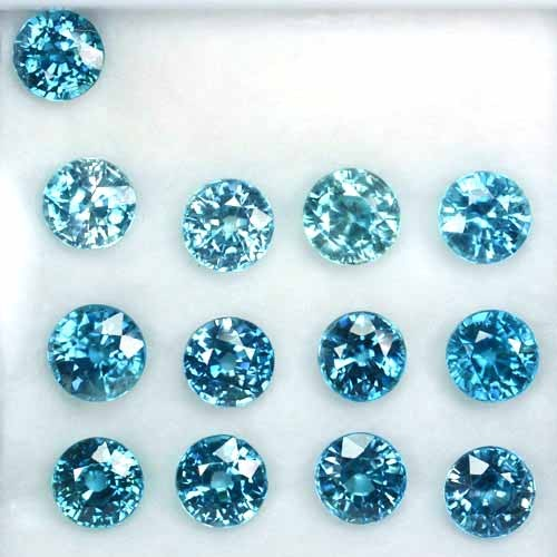 ~PARCEL~ 34.75 Cts Natural Blue Zircon (7.5 mm) 13Pcs Round Cambodia