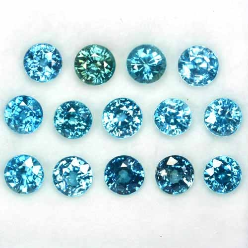 ~PARCEL~ 28.85 Cts Natural Blue Zircon (7.0 mm) 14Pcs Round Cambodia
