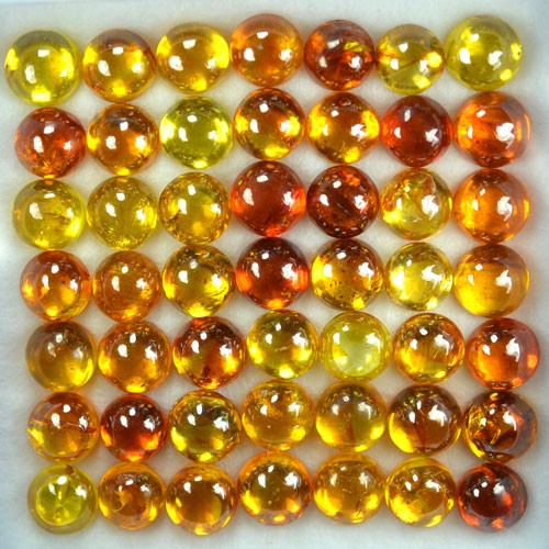 ~RAREST~ 65.42 Cts Natural Sphalerite (6.0 mm) 49 Pcs Cabs Sunset Orange Sp