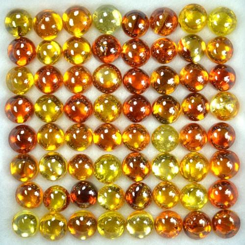 ~RAREST~ 52.75 Cts Natural Sphalerite (5.0 mm) 64Pcs Cabs Sunset Orange Spa