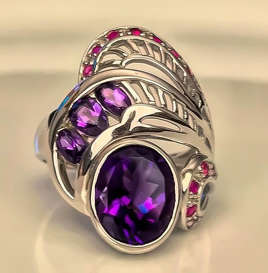 A Fancy Amethyst Ruby Sterling Silver Ring Size 9.5