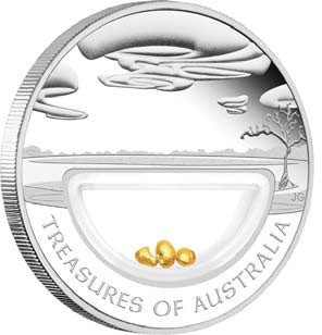 Treasures of Australia Gold nuggets 1oz Silver Proof Locket Coin