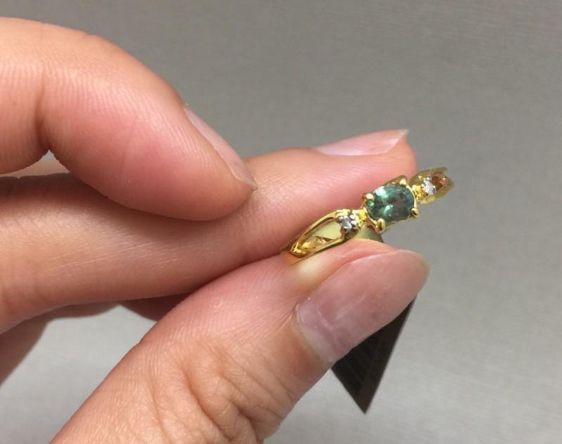 Marvelous Cert. $1150 Nat 0.44ct Alexandrite&Diamond 14K Ylw Solid Gold