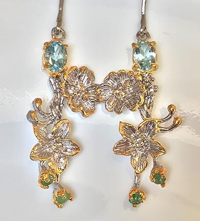 Topaz Emerald Gem Earrings Sterling Silver 14kt White Gold